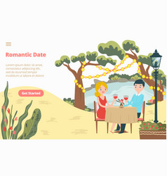 romantic date lovely couple landing web page vector image