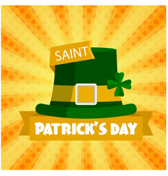saint patrick s day hat orange background i vector image