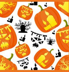 Seamless pattern decorative halloween pumpkins vector