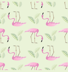 Seamless summer tropical pattern with flamingo vector