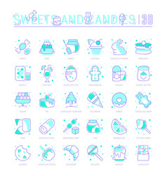Set blue line icons sweets and chocolate vector