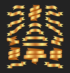set of hand drawn gold satin ribbons on blacke vector image