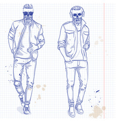 set of two men with skull beard vector image