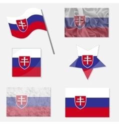 Set with flags of slovakia vector