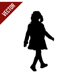 silhouette a little girl walking vector image