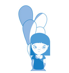 Silhouette pretty girl with balloons and casual vector