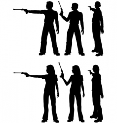 Silhouette shooters vector