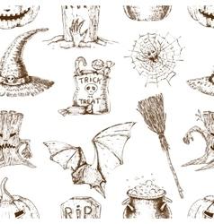Sketch Halloween Seamless Pattern vector