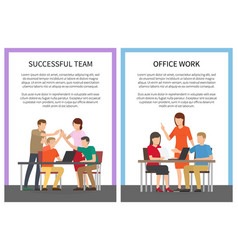 Successful team office work set of posters workers vector