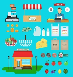 Supermarket icons Food and drinks basket and money vector image