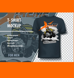 T-shirt mock-up template with quadbike extreme vector