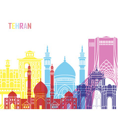 tehran skyline pop vector image