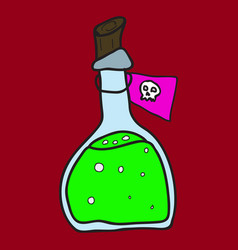 Toxic potion in small glass bottle with cork vector