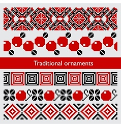 Traditional pixel seamless ornaments embroidery vector image