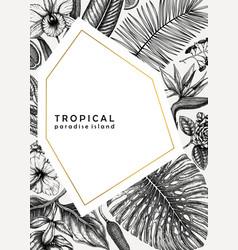 Tropical wedding invitation or greeting card vector