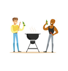 Two friends preparing barbecue on a grill and vector