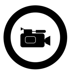 Videocamera icon black color in circle vector