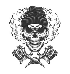 vintage monochrome skull wearing beanie hat vector image