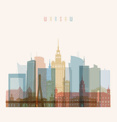 Warsaw skyline detailed silhouette vector