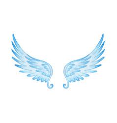 Watercolor blue angel wings religious beautiful vector