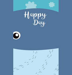 Whale cute animal cartoon card vector