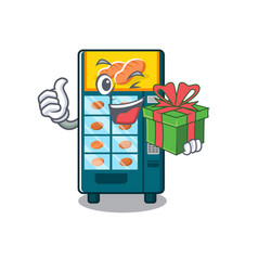 with gift bakery vending machine in a mascot vector image
