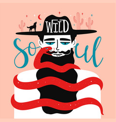with man wolf and snake wild soul handwritten vector image