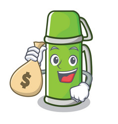 With money bag thermos character cartoon style vector