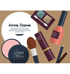 Womens cosmetics on a table with place for your vector image