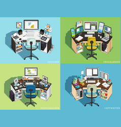 Workplace at the computer of different professions vector