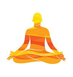 young men practice yoga lotus pose vector image
