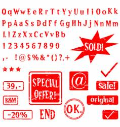 alphabet and stamps vector image vector image