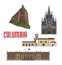Architecture tourist attractions of Colombia vector image vector image