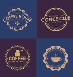 Design coffee logo on colored backgrounds vector image vector image