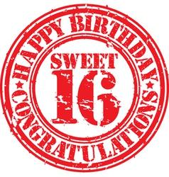 Happy birthday sweet 16 grunge rubber stamp vector image vector image