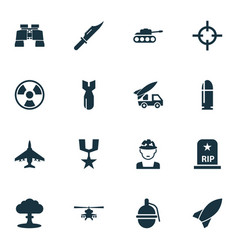 warfare icons set collection of dangerous vector image vector image