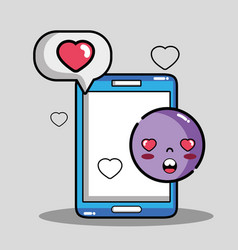 smartphone with chat bubble emoji message vector image