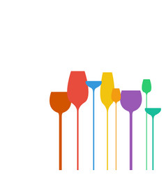 abstract wine glasses shapes colorful vector image