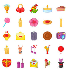 Revels icons set cartoon style vector