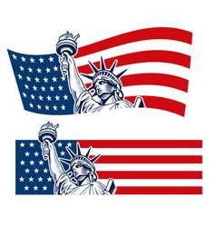 statue of liberty nyc usa flag symbol vector image