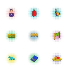 Airport icons set pop-art style vector image vector image