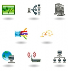 computer network icon set vector image vector image