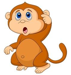 Cute monkey cartoon thinking vector image vector image