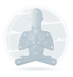 meditation man isolated on white background vector image vector image