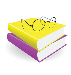 spectacles and two books on a white background vector image