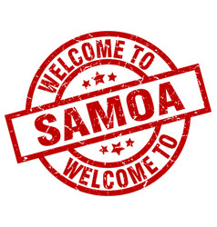 welcome to samoa red stamp vector image vector image
