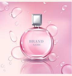 3d realistic perfume bottle for women vector