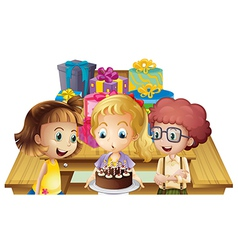 A girl celebrating her birthday with her friends vector image