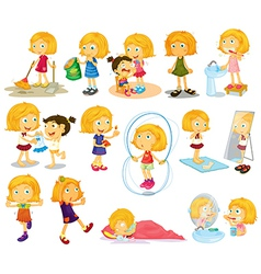 A young blondies daily activities vector