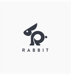 Abstract letter r for rabbit logo icon template vector